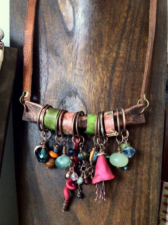 Bohemian gypsy assemblage charm necklace of hammered copper and Czech glass beads by etsy artist quisnam
