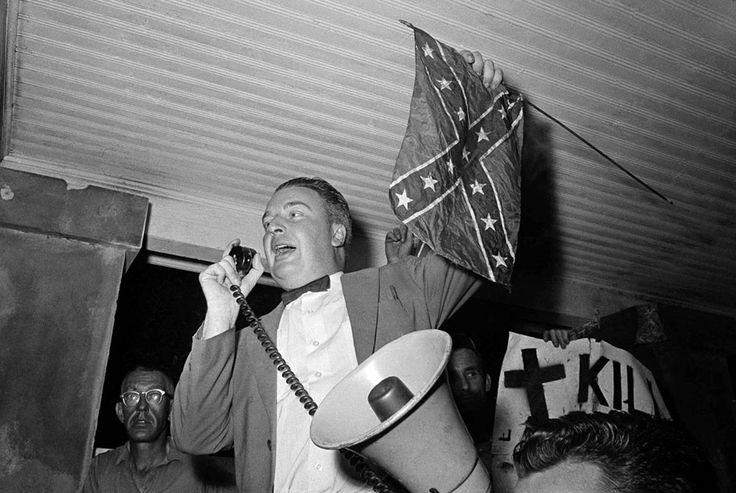 J.B. Stoner, segregationist, addresses crowd of whites at slave market, St. Augustine, Florida, 1964 (Sign reads Kill Civil Rights Bill) #History #UnitedStatesHistory #BlackHistory #Racism #JimCrow #Segregation #1960s