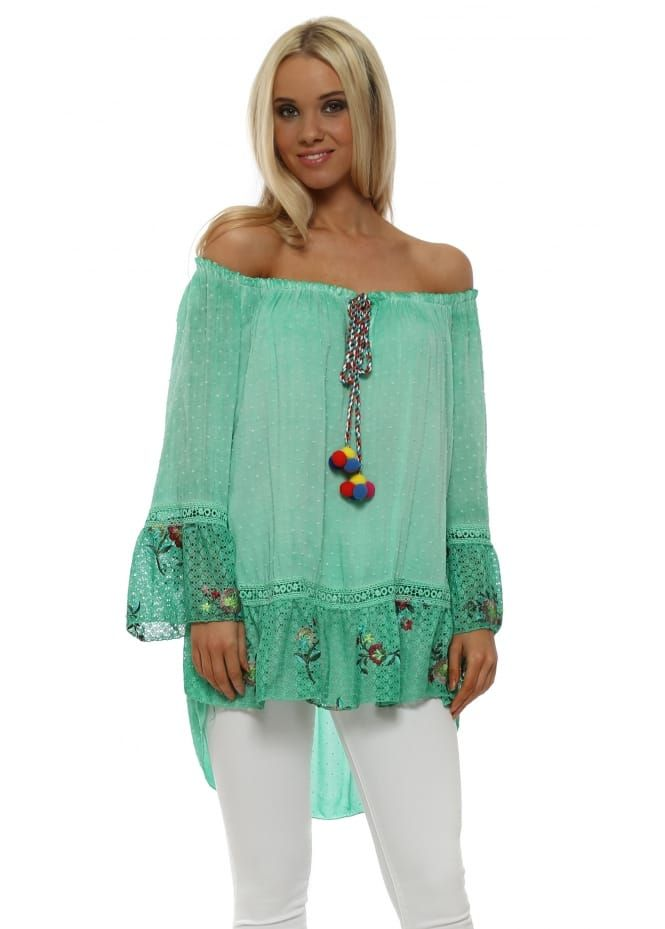 Pinka Green Bardot Floral Lace Pom Pom Tassel Top Floral Lace Tops Lace
