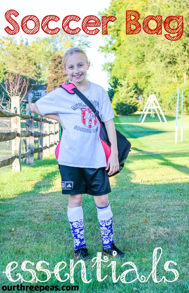 Soccer bag essentials that are a must for any little soccer star in your house! | Our Three Peas