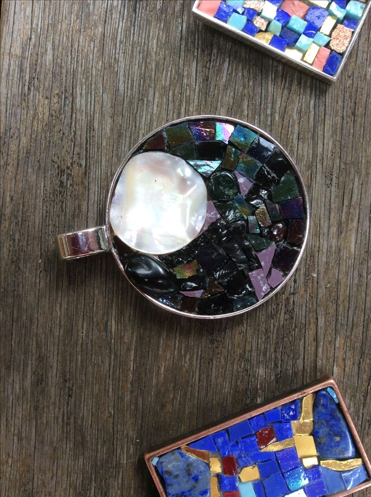 Mosaic pendants by Sarah Muggeridge- glass and semi precious stones on silver plate