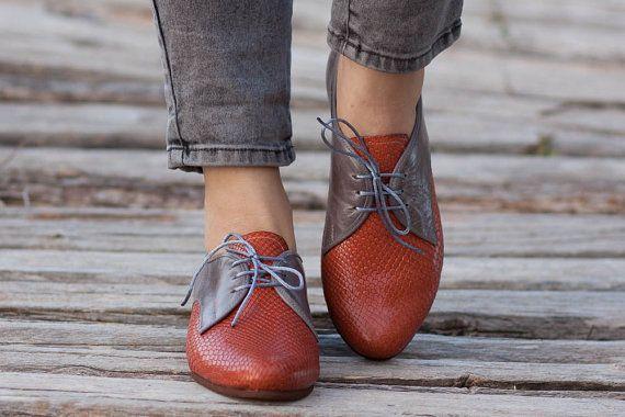 Chaussures en cuir Camel le chameau Oxford chaussures par BangiShop