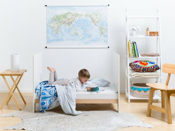 Beautiful child's room featuring Behome Luna Ikat Quilt with FohFum Uno cot