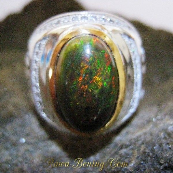 Perhiasan Perak Harga Grosir dan Eceran: Cincin Pria Black Opal Matrix