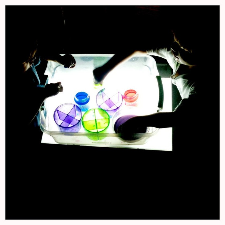 using droppers to transfer food dye colored water  from one container to another