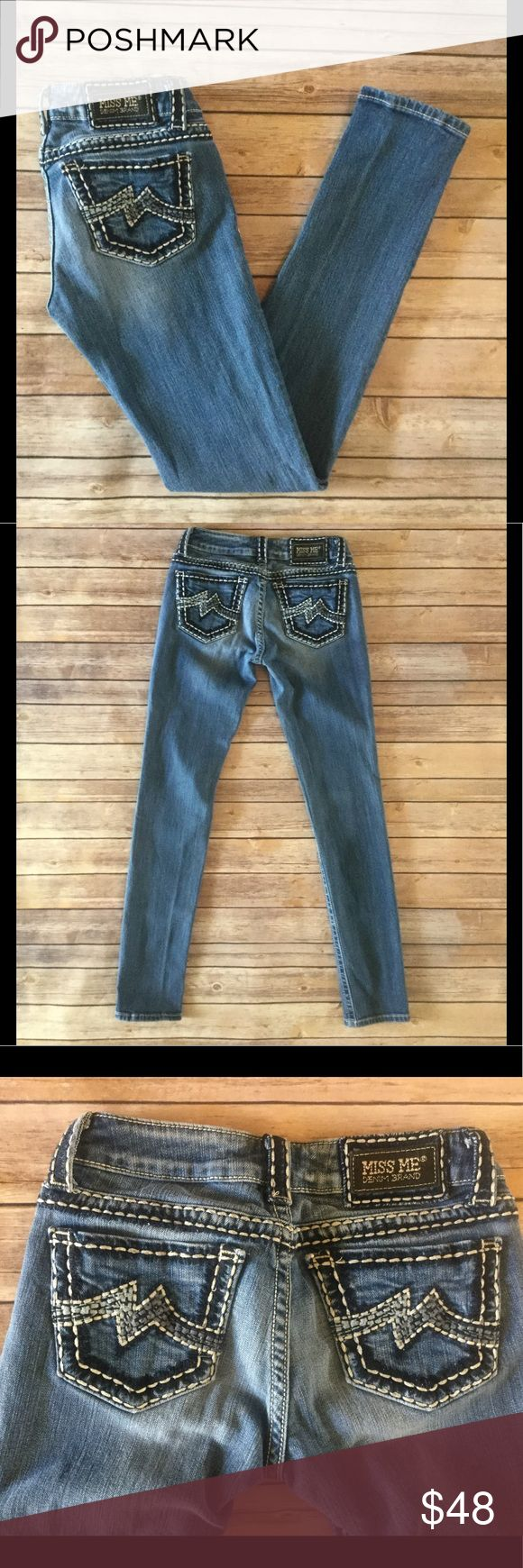 Miss Me Skinny Jeans Miss Me Skinny Jeans in very good condition. No flaws, zipper works.   Approximate measurements: Rise - 7 Waist - 14 Inseam - 32 Ankle - 6 (All measurements are taken with item laying flat.) Miss Me Jeans Skinny
