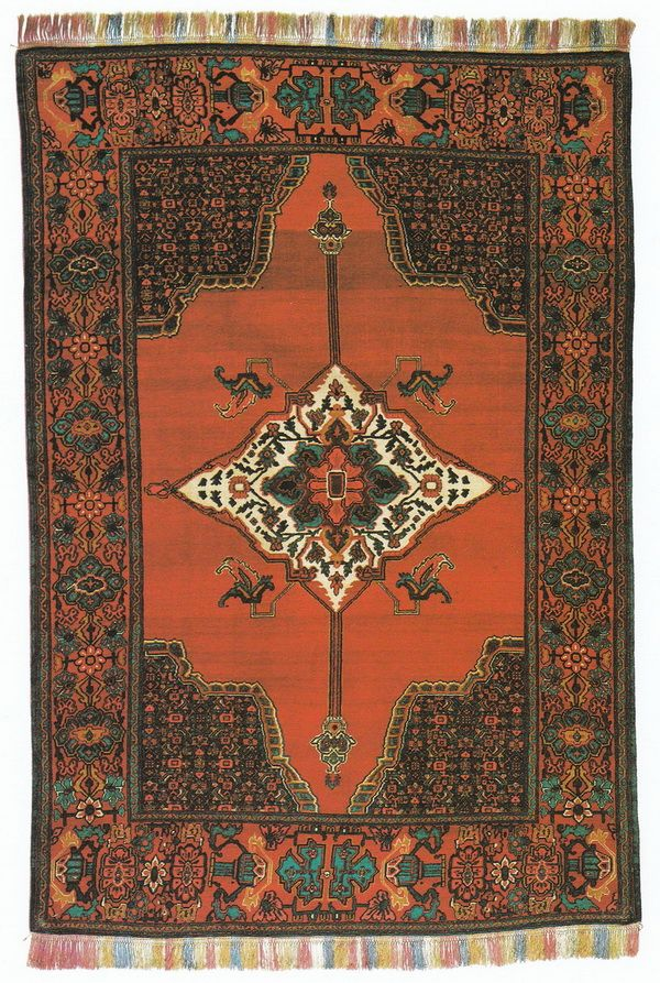 Страны Западной Азии. Иран - Страница 3  Ковер из Сенне, геометрический узор, медальон в центре + украшенные углы ковра, шерсть, 198 х 135 см