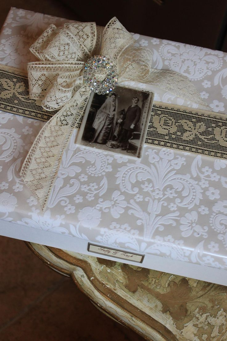 Wedding gift wrap made from photo filing box, decorated with vintage wedding photo, pin, and lace, by Julia M. Usher, www.juliausher.com