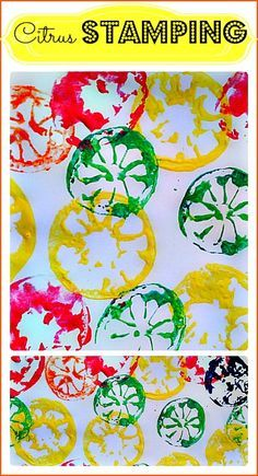 Fun stamping project for kids of all ages. Eat the fruit and then stamp! Great way to get the kids to get excited about eating their fruits. #artactivities