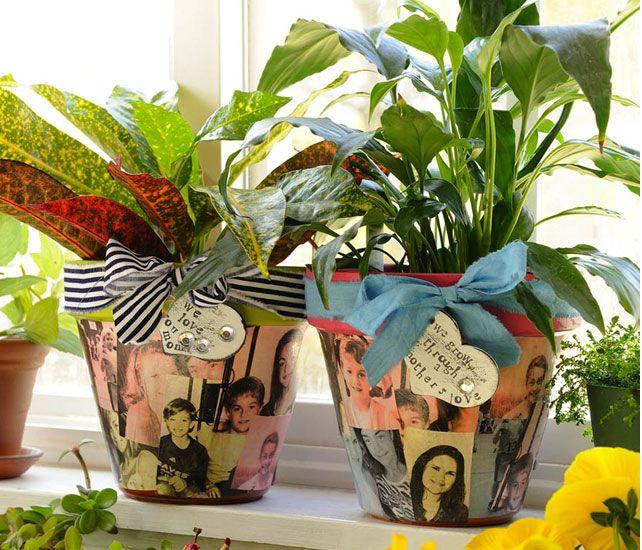 make decoupage flower pot for an inexpensive diy gift. Black Bedroom Furniture Sets. Home Design Ideas
