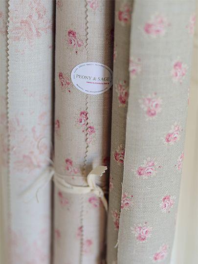 Peony & Sage Posies ~ Clay Background £54.00 (Cream Linen) - Peony & Sage