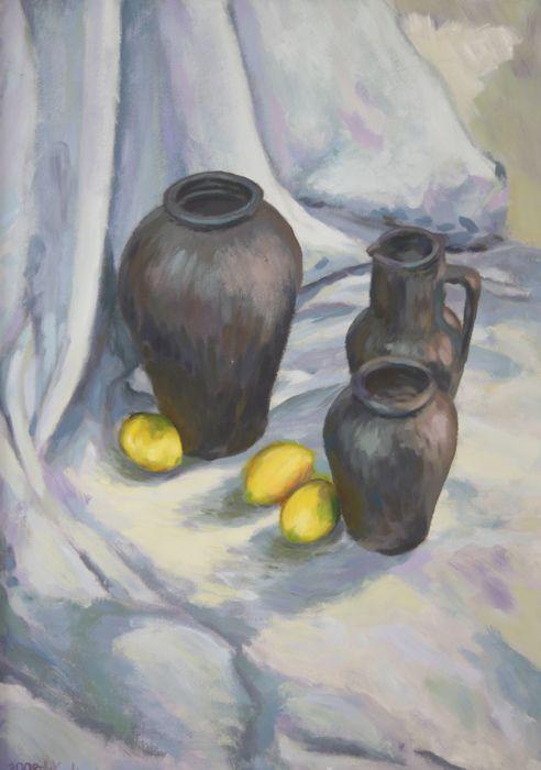 Lemons and black jugs #TraditionalArt #Paintings #StillLife #black #jugs #lemons #art #academic