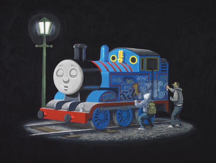 Thomas. - Banksy: Thomas The Tanks, Canvas Prints, Thomas The Train, Graffiti, Street Art, Banksy Thomas, Tanks Engine, Poor Thomas, Streetart
