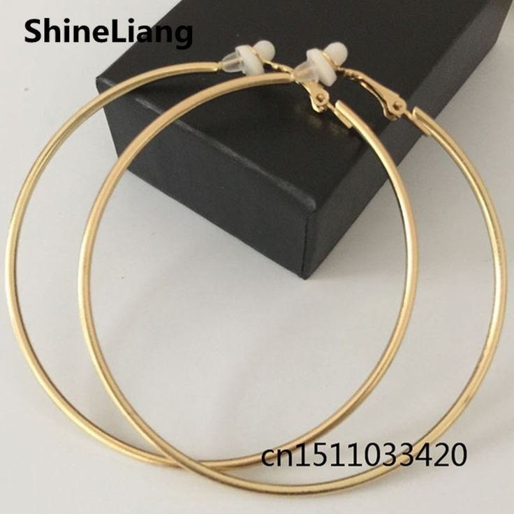 Metal Ear clip Earrings for women No pierced Gold Silver Fashion jewelry big circle Prevent allergies high quality Female gift