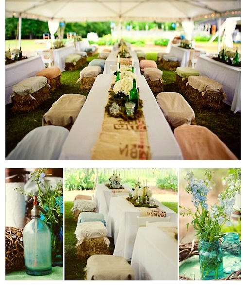 Straw bales!! LOVE LOVE LOVE!    Ya can't get much more barn vintage picnic than this.