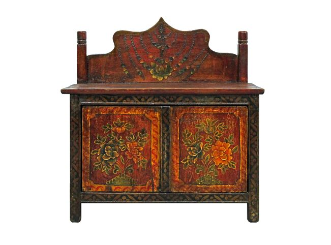 Vintage Hand Painted Pine Wood Altar Cabinet From Tibet, China