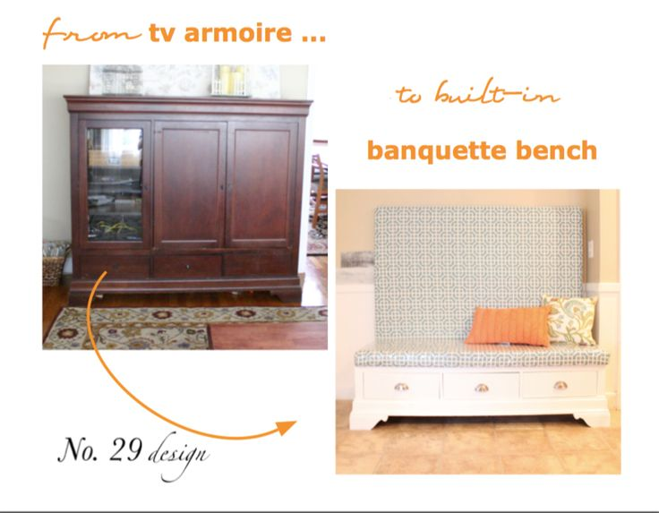 From tv armoire to built in kitchen banquette kitchen banquette in kitchen and armoires - Diy kitchen banquette ...