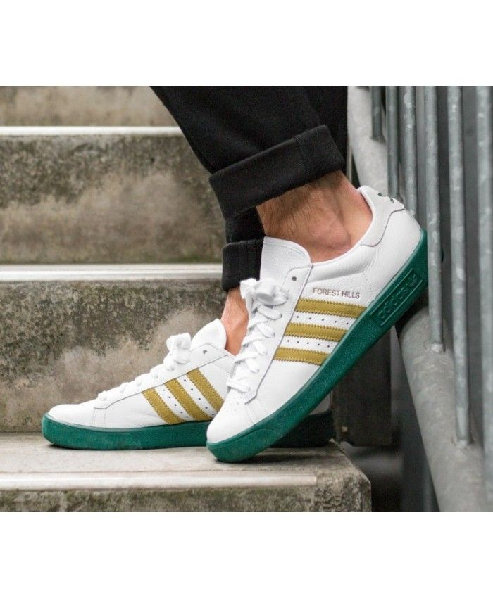 low priced 866d4 73e29 Adidas Forest Hills White Gold Metallic Green Shoes