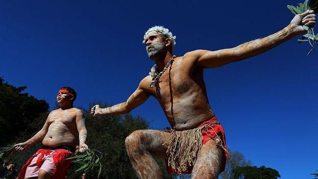 Dance moves Down Under Tim Bishop and Yarraan Doyle, members of the Wuriniri Dance Group perform during Naidoc Week at Sydney's Hyde Park. Naidoc is a celebration of Aboriginal and Torres Strait Islander cultures. (Photo: Lisa Maree Williams/Getty Images)