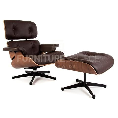 classic lounge chair with ottoman stool in style of charles u0026 ray eames walnut and