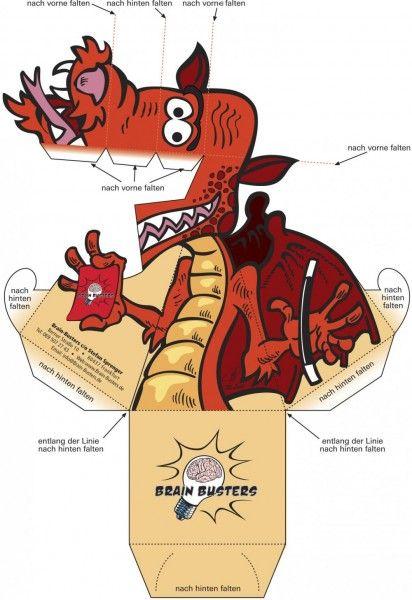 Dragão Vermelho 3D de Papel que Mexe a Cabeça