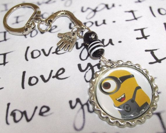 Despicable Me 2 MINION bottlecap handmade keyring  by Fizzbombshop, £3.25