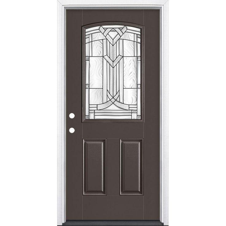 Masonite Chatham Camber Top Half Lite Painted Smooth Fiberglass Entry Door With Brickmold 24789 At The Home Fiberglass Entry Doors Vinyl Frames Fiberglass Door