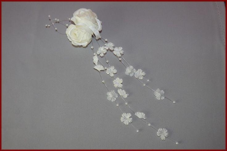 Haarklem groot met bloemetjes-kraaltjes Ivoor (408)