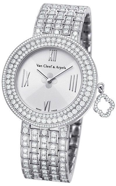 WNWI01K1 Van Cleef & Arpels Charms M - швейцарские женские часы - наручные, золотые с бриллиантами, белые