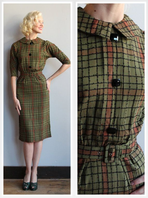 ~1950s Plaid Embroidered Dress ~Black embroidered lines ~Green and Amber ~Sheath Dress ~Black button detailed front ~Back metal zipper ~Peter pan