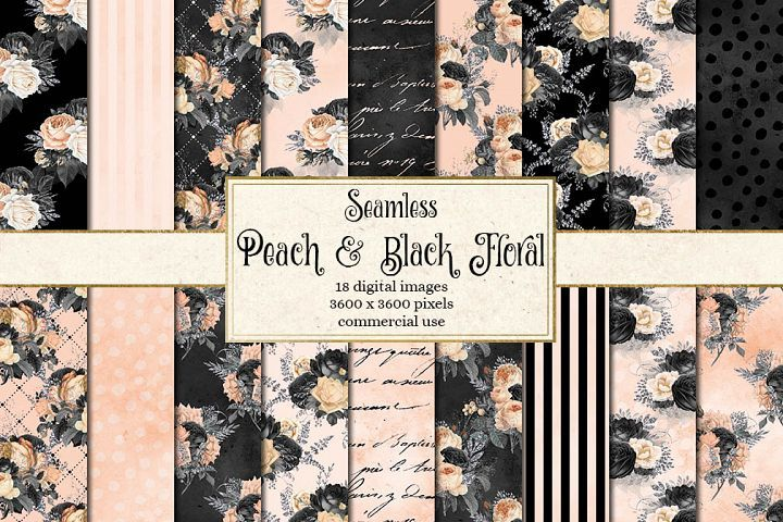 Black Peach And Silver Digital Paper With Images Digital Paper Black Floral Digital Scrapbook Paper