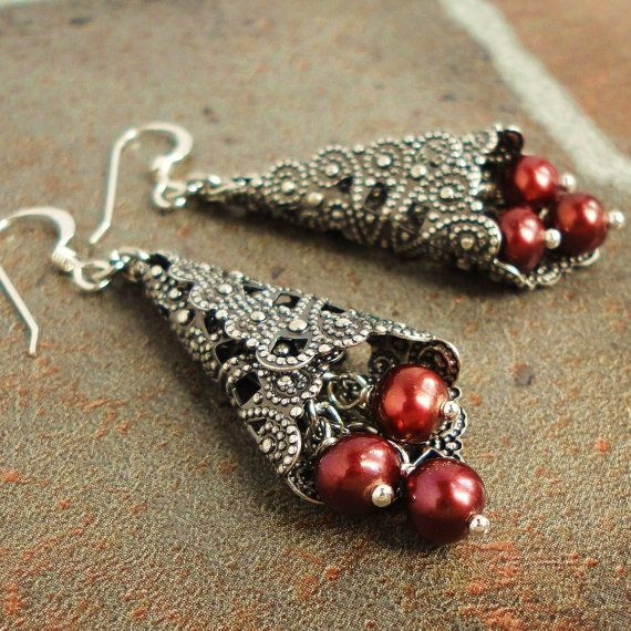 Cranberry Red Pearl Earrings
