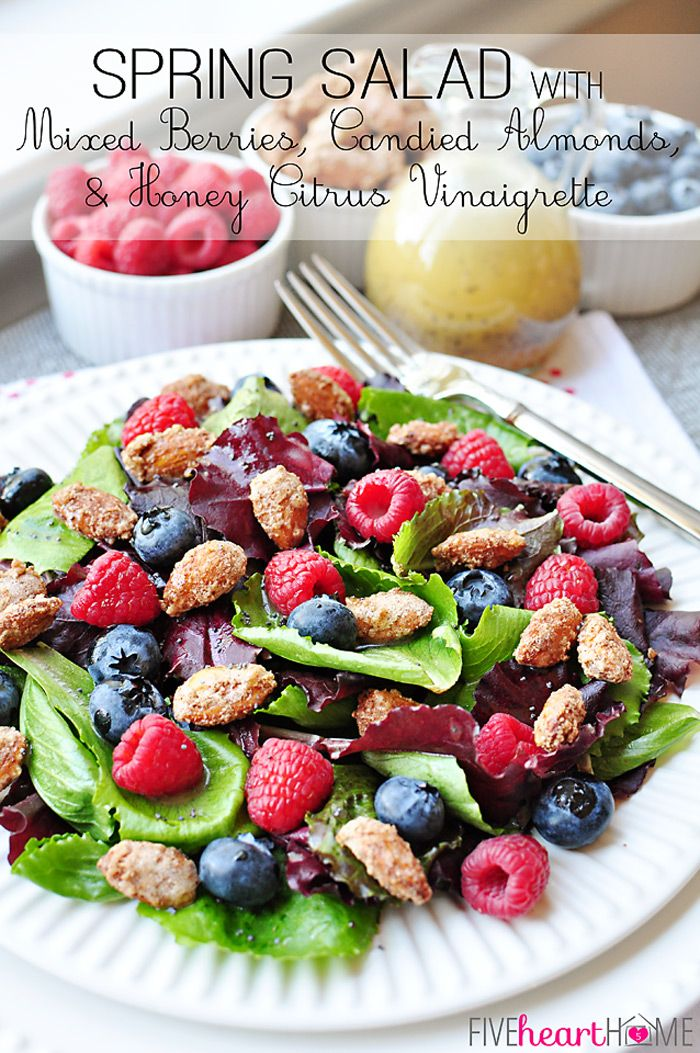 Spring Salad with Mixed Berries, Candied Almonds, and Honey Citrus Vinaigrette ~ a beautiful, delicious salad with vibrant flavors and varie...