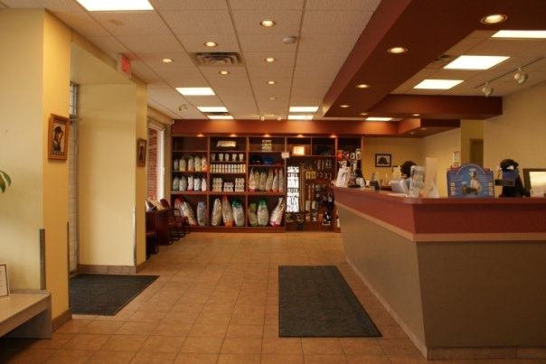 another view of our reception area, and the front desk where our friendly reception staff will greet you and your pet