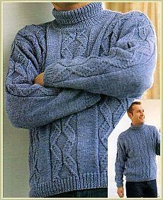 Мужской свитер с красивым узором спицами(без перевода)