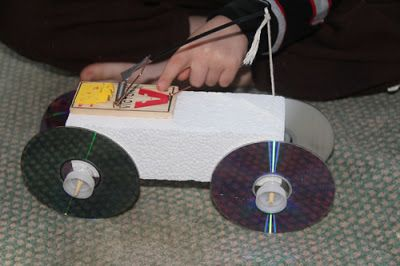 Mouse trap car potential and kinetic energy force and motion