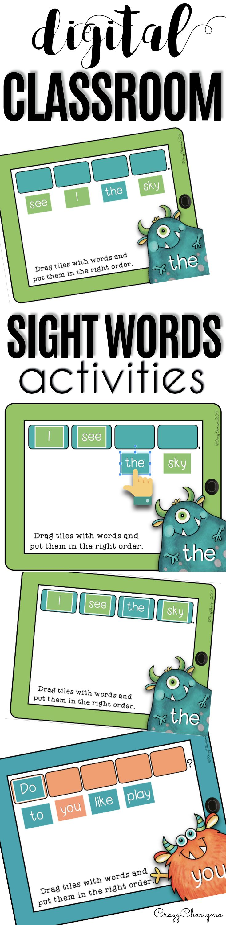 Have you been looking for fun 1:1 Sight words activities to use in Google Classroom? Try this digital teaching resource - MONSTERS. Help students become more comfortable with reading 50 sentences with high-frequency words. Use the Google Classroom packet in kindergarten, first grade and second grade during your literacy block, daily 5, guided reading, spelling, RTI, or during literacy centers. Paperless resources can be fun!   CrazyCharizma