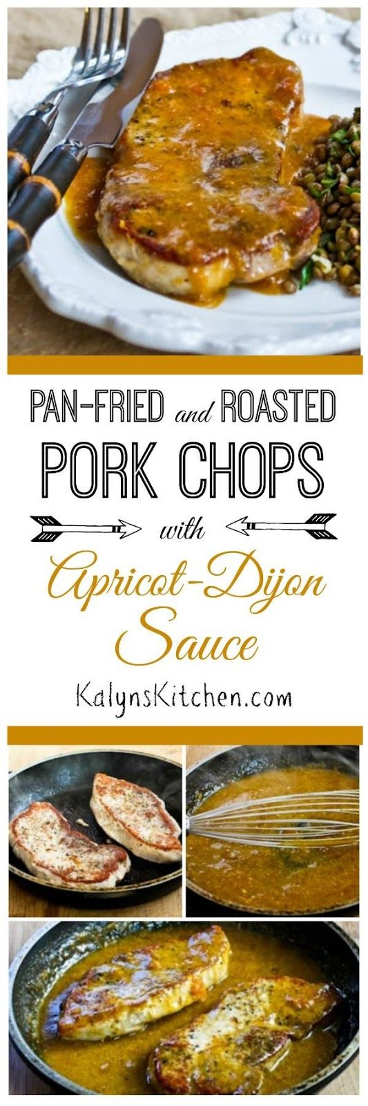 Pan-Fried and Roasted Pork Chops with Apricot-Dijon Sauce are fantastic for an easy week-night meal! If you use sugar-free or low-sugar apricot preserves, this is still a pretty low-carb dish, and it's also gluten-free and dairy-free. [found on KalynsKitchen.com]