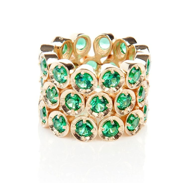 Triple Eternity Ring Emerald Green (Gold)