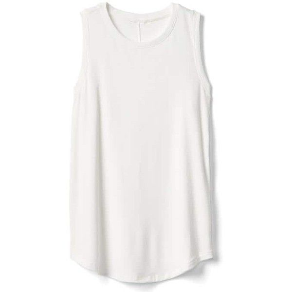 Gap Women Softspun Knit Muscle Tank ($30) ❤ liked on Polyvore featuring tops, regular, white, white muscle tank, white tops, sleeveless tops, muscle tank and knit top
