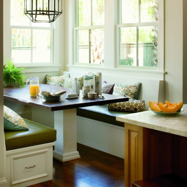 Eat in booth in the kitchen house kitchen pinterest - Kitchen booth with storage ...