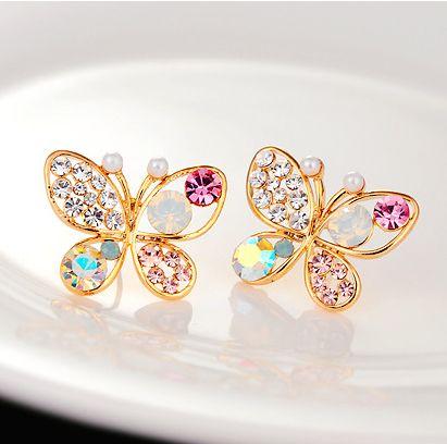 Cheap 18KG plateado 2014 nuevo lujo coreana hueco brillante colorido Cystal simulado perla 18KGP Butterly Stud Pendientes E3266, Compro Calidad Pendientes Cortos directamente de los surtidores de China:                                                   nota                    :           o