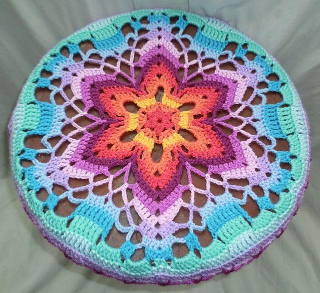Ravelry: Starflower Mandala pattern by zelna olivier used as stool cover