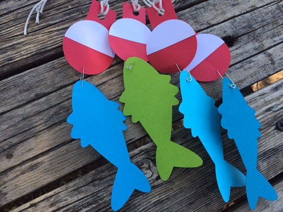 12 Fishing Party Favor Tags- Bobbers and Fish- Birthday Party, Baby Shower, Fishing Party