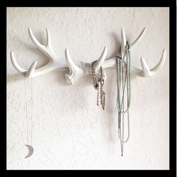 White or choose faux deer antler decor hook jewelry for Antler decoration