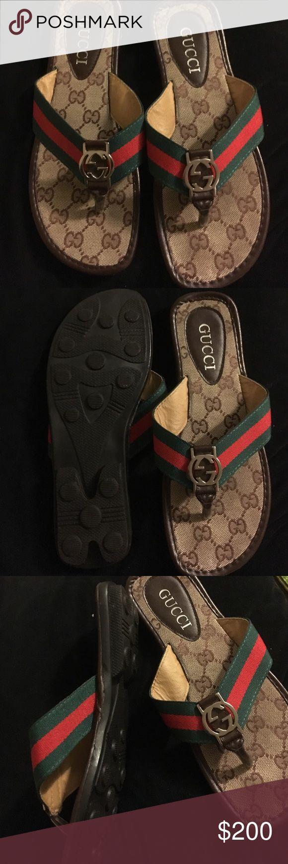 Woman's size 7 Gucci flip flop sandals Woman's size 7 Gucci flip flop sandals worn in house 2 times like new . Gucci Shoes Sandals