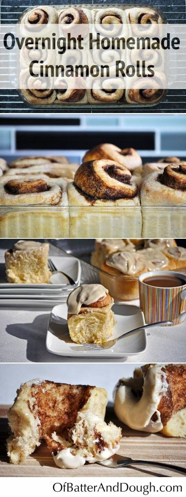 Overnight Homemade Cinnamon Roll Recipe. Rich, buttery rolls with swirls of cinnamon sugar, slathered in vanilla cream cheese icing. | OfBatterAndDough.com