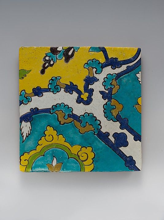 Square Tile Depicting Clouds Object Name: Square tile Date: 17th century Geography: Iran