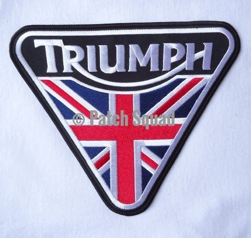 """Triumph Motorcycle Union Jack Patent Plate -Embroidered Iron-On Biker Approx. 7.25 x 9"""" Patch"""