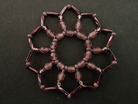 Vintage style Christmas star beaded decoration by sillylittlesheep, $4.20